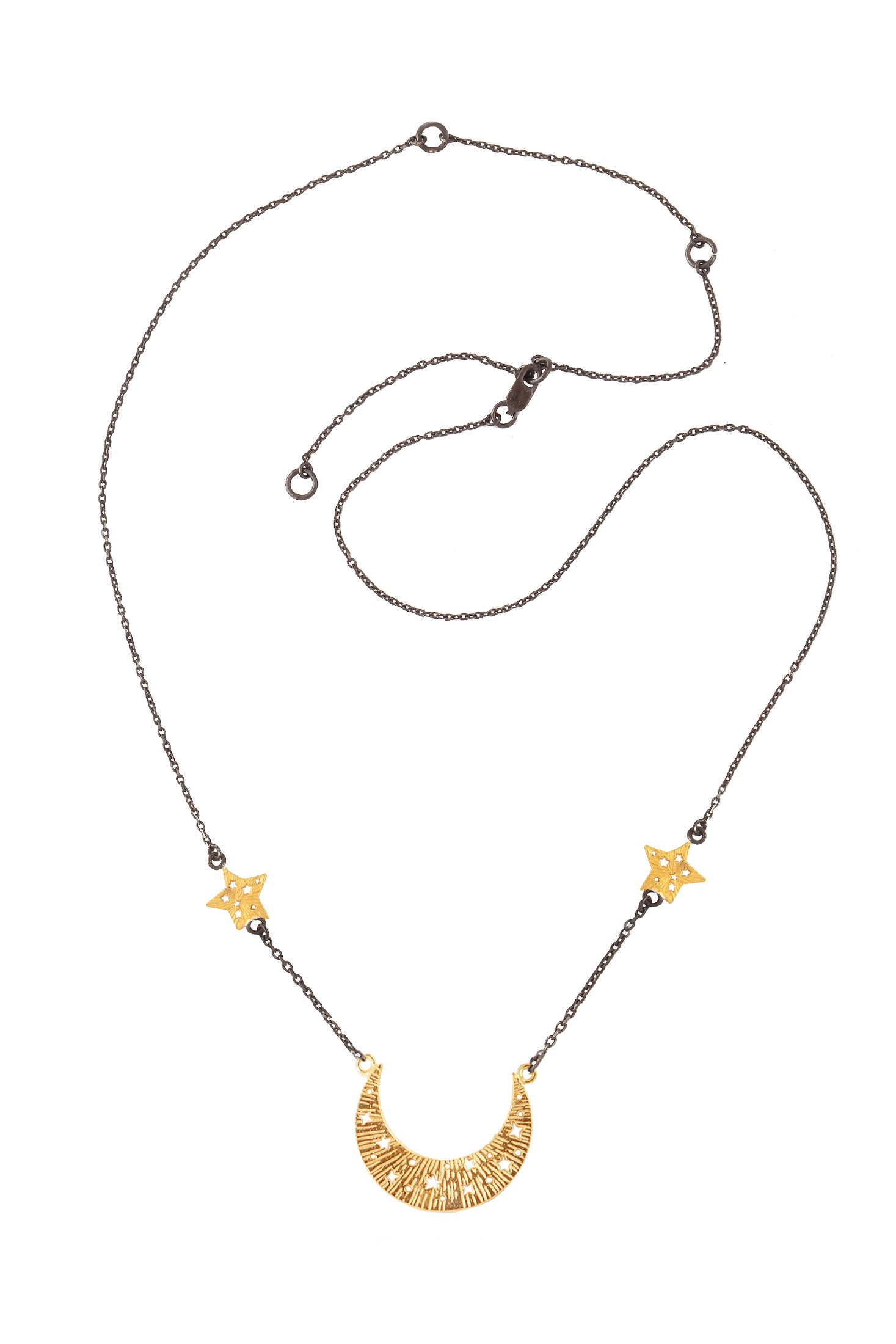 Designer chain necklace Moon and Stars